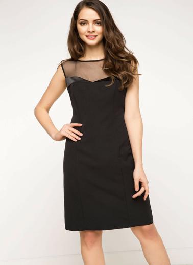 DeFacto Şifon Detaylı Gece Elbisesi Siyah